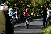 France, October 10 2010: TEAM RADIOSHACK (RSH)'s Geoffroy LEQUATRE led the race up the Côte de l'Epan climb during the 2010 Paris Tours cycle race.  Copyright 2010 Peter Horrell