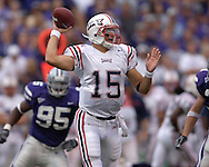 Florida Atlantic quarterback Sean Clayton (15) looks down field to pass against Kansas State in the first half, at Bill Snyder Family Stadium in Manhattan, Kansas, September 9, 2006.  The Wildcats beat the Owls 45-0.
