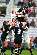 5th September 2010, Twickenham Stoop, London, England: Victoria Heighway of New Zealand takes a high ball during the IRB Women's Rugby World Cup final between England and New Zealand Black Ferns. New Zealand won 13-10, capturing the trophy for the 4th time.  (Photo by Andrew Tobin www.slikimages.com)