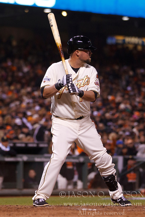 SAN FRANCISCO, CA - APRIL 18:  Casey McGehee #14 of the San Francisco Giants at bat against the Arizona Diamondbacks during the seventh inning at AT&T Park on April 18, 2015 in San Francisco, California.  The San Francisco Giants defeated the Arizona Diamondbacks 4-1. (Photo by Jason O. Watson/Getty Images) *** Local Caption *** Casey McGehee