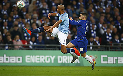 February 24, 2019 - London, England, United Kingdom - L-R Manchester City's Vincent Kompany and Chelsea's Eden Hazard.during during Carabao Cup Final between Chelsea and Manchester City at Wembley stadium , London, England on 24 Feb 2019. (Credit Image: © Action Foto Sport/NurPhoto via ZUMA Press)