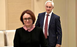 April 17, 2018 - Moscow, Russia - April 17, 2018. - Russia, Moscow Region, Novo-Ogaryovo. - Central Bank's Chairperson Elvira Nabiullina and Presidential Aide Andrey Belousov before a meeting on economic issues. (Credit Image: © Russian Look via ZUMA Wire)