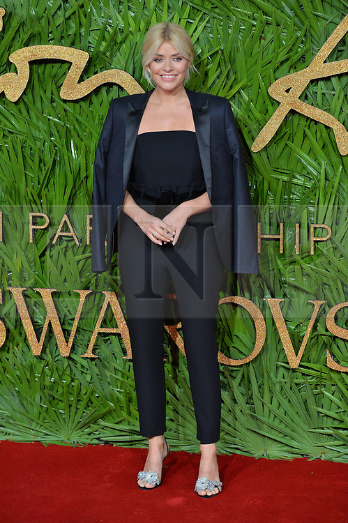 © Licensed to London News Pictures. 04/12/2017. London, UK. HOLLY WOLLOUGHBY arrives for The Fashion Awards 2017 held at the Royal Albert Hall. Photo credit: Ray Tang/LNP