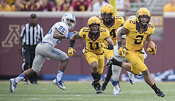 September 16, 2017 - Minneapolis, MN, USA - Minnesota's Jacob Huff (2) intercepted a pass and returns it for a 67-yard-touchdown during the second quarter against Middle Tennessee at TCF Bank Stadium, Saturday, Sept. 16, 2017, in Minneapolis. The host Gophers won, 34-3. (Credit Image: © Elizabeth Flores/TNS via ZUMA Wire)