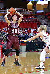 29 January 2017:  Carlie Corrigan defended by Taylor Stewart during an College Missouri Valley Conference Women's Basketball game between Illinois State University Redbirds the Salukis of Southern Illinois at Redbird Arena in Normal Illinois.