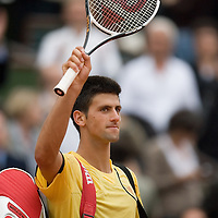 08 June 2007: Serbian player Novak Djokovic thanks the audience during the French Tennis Open semi final won 7-5, 6-4, 6-2, by Rafael Nadal over Novak Djokovic on day 13 at Roland Garros, in Paris, France.
