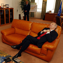 Jaap de Hoop Scheffer , Secretary General of NATO, during an interview with Der Spiegel Magazine, at NATO headquarters in Brussels, Belgium. (Photo © Jock Fistick)