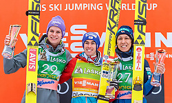 26.03.2017, Planica, Ratece, SLO, FIS Weltcup Ski Sprung, Planica, Siegerehrung, im Bild Andreas Wellinger (GER, 2. Platz), Sieger Stefan Kraft (AUT), Noriaki Kasai (JPN, 3. Platz) // 2nd placed Andreas Wellinger of Germany Winner Stefan Kraft of Austria 3rd placed Noriaki Kasai of Japan during the Winner Award Ceremony of the FIS Ski Jumping World Cup Final 2017 at Planica in Ratece, Slovenia on 2017/03/26. EXPA Pictures © 2017, PhotoCredit: EXPA/ JFK