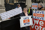 On the day that the UK Parliament once again votes on an amendment of Prime Minister Theresa Mays Brexit deal that requires another negotiation with the EU in Brussels, pro-Remain protesters gather outside the House of Commons, on 29th January 2019, in Westminster, London, England.