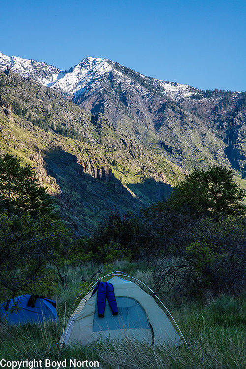 Hells Canyon, Snake River, deepest gorge in North America (7900 feet), forms the border of Idaho and Oregon. Evening camp on 5 day raft trip. Photogrpher Norton led the fight to stop a major dam in the 1960s that would have flooded this gorge.
