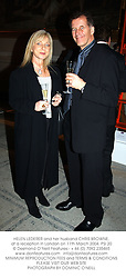 HELEN LEDERER and her husband CHRIS BROWNE, at a reception in London on 11th March 2004.PSI 20