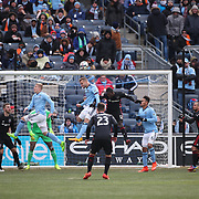 NEW YORK, NEW YORK - March 12: A general view as Maxime Chanot #4 of New York City FC heads clear while challenged by Patrick Nyarko #12 of D.C. United during the NYCFC Vs D.C. United regular season MLS game at Yankee Stadium on March 12, 2017 in New York City. (Photo by Tim Clayton/Corbis via Getty Images)