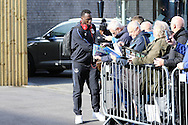 Romelu Lukaku of Everton signs autographs outside the stadium as he arrives. Premier League match, Burnley v Everton at Turf Moor in Burnley , Lancs on Saturday 22nd October 2016.<br /> pic by Chris Stading, Andrew Orchard sports photography.