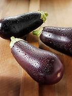 Fresh whole aubergines