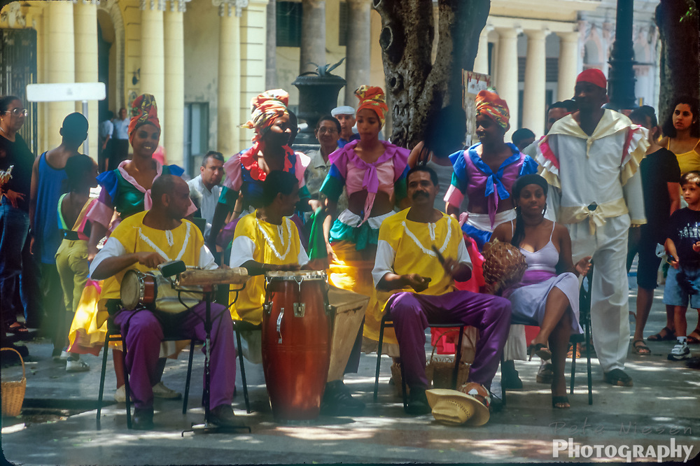 Traditional Cuban salsa band performing on the street