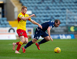 Partick Thistle's Shea Gordon and Dundee's Paul McGowan. Dundee 1 v 3 Partick Thistle, Scottish Championship game player 19/10/2019 at Dundee stadium Dens Park.