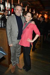 MARK HIX and JUDY JOO at the launch of Korean restaurant Jinjuu with chef Judy Joo at 15 Kingley Street, London on 22nd January 2015.