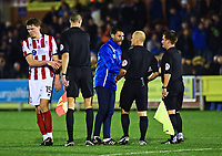 Lincoln City manager Danny Cowley speaks to Referee Andy Woolmer at the end of the match<br /> <br /> Photographer Andrew Vaughan/CameraSport<br /> <br /> Emirates FA Cup First Round - AFC Wimbledon v Lincoln City - Saturday 4th November 2017 - Kingsmeadow Stadium - London<br />  <br /> World Copyright © 2017 CameraSport. All rights reserved. 43 Linden Ave. Countesthorpe. Leicester. England. LE8 5PG - Tel: +44 (0) 116 277 4147 - admin@camerasport.com - www.camerasport.com