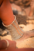 Detail of anklet, Woman of the Himba Tribe, Kunene Region, Northern Namibia, Southern Africa