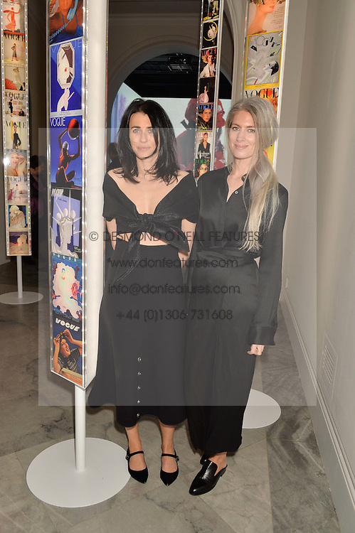 Left to right, EMILY SHEFFIELD and SARAH HARRIS at the Alexandra Shulman and Leon Max hosted opening of Vogue 100: A Century of Style at The National Portrait Gallery, London on 9th February 2016.