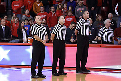 29 December 2016:  Gerry Pollard, Ray Natili and Brad Ferrie during an NCAA  MVC (Missouri Valley conference) mens basketball game between the Evansville Purple Aces the Illinois State Redbirds in  Redbird Arena, Normal IL
