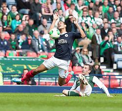 Falkirk's Lyle Taylor tackled by Hibernian's Kevin Thomson.<br /> Hibernian 4 v 3 Falkirk, William Hill Scottish Cup Semi Final, Hampden Park.<br /> ©Michael Schofield.