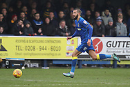 AFC Wimbledon defender George Francomb (7) dribbling during the EFL Sky Bet League 1 match between AFC Wimbledon and Blackpool at the Cherry Red Records Stadium, Kingston, England on 20 January 2018. Photo by Matthew Redman.
