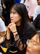 "SEOUL, SOUTH KOREA: A South Korean woman listens to a speaker at the Wednesday protest in front of the Japanese embassy in Seoul. The Wednesday protests have been taking place since January 1992. Protesters want the Japanese government to apologize for the forced sexual enslavement of up to 400,000 Asian women during World War II. The women, euphemistically called ""Comfort Women"" were drawn from territories Japan conquered during the war and many came from Korea, which was a Japanese colony in the years before and during the war. The ""comfort women"" issue is still a source of anger of many people in northeast Asian areas like South Korea, Manchuria and some parts of China.   PHOTO BY JACK KURTZ   <br /> Wednesday Demonstration demanding Japan to redress the Comfort Women problems"