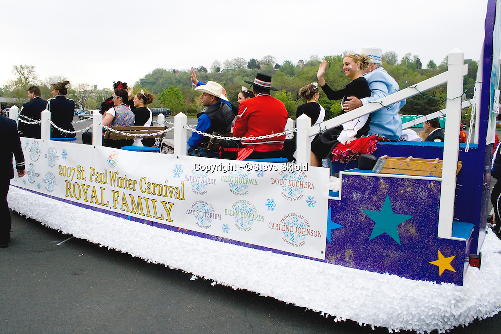Royal Family on the St Paul Winter Carnival float participating in the parade. Cinco de Mayo Fiesta St Paul Minnesota USA