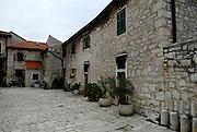 Street scene, courtyard, Sibenik, Croatia