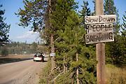 Roadsign entering the town of Polebridge Montana.