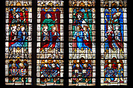 Stained glass Windows of Cathedral of Chartres, France - showing  the kings of France. A UNESCO World Heritage Site. .<br /> <br /> Visit our MEDIEVAL ART PHOTO COLLECTIONS for more   photos  to download or buy as prints https://funkystock.photoshelter.com/gallery-collection/Medieval-Middle-Ages-Art-Artefacts-Antiquities-Pictures-Images-of/C0000YpKXiAHnG2k