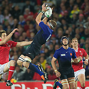 Imanol Harinordoquy, France, takes a high ball as Ryan Jones, Wales, challenges  during the Wales V France Semi Final match at the IRB Rugby World Cup tournament, Eden Park, Auckland, New Zealand, 15th October 2011. Photo Tim Clayton...