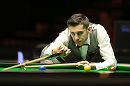 Mark Selby  in action during his match against Ronnie O'Sullivan.  Betvictor Welsh Open snooker 2016, day 5 at the Motorpoint Arena in Cardiff, South Wales on Friday 19th Feb 2016.  <br /> pic by Andrew Orchard, Andrew Orchard sports photography.