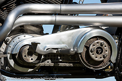 Hide Motorcycles' Hideya Togashi's custom Shovelhead in the style of an XR racer that was just shown at the Mooneyes Yokohama Hot Rod & Custom Show. Kawasaki, Japan. December 6, 2016.  Photography ©2016 Michael Lichter.