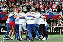 February 11, 2018 - Prague, Czech Republic - Czech tennis team celebrates winning during in their Fed Cup match between Czech Republic v Switzerland in Prague, Czech Republic, February 11, 2018. Petra Kvitova completed a fairytale return to Fed Cup tennis by outplaying Swiss Belinda Bencic to put the Czech Republic into a winning 3-0 advantage in Prague. The resounding victory earns the Czechs a semifinal date either at home against Belarus or away to Germany. *** Local Caption *** Petra Kvitova completed a fairytale return to Fed Cup by BNP Paribas tennis by outplaying Swiss No.1 Belinda Bencic to put the Czech Republic into a winning 3-0 advantage in Prague. (Credit Image: © Slavek Ruta via ZUMA Wire)