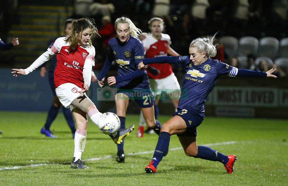 February 7, 2019 - London, England, United Kingdom - L-R Danielle van de Donk of Arsenal  and Alex Greenwood of Manchester United Women .during FA Continental Tyres Cup Semi-Final match between Arsenal and Manchester United Women FC at Boredom Wood on 7 February 2019 in Borehamwood, England, UK. (Credit Image: © Action Foto Sport/NurPhoto via ZUMA Press)