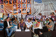 """Mothers from Central America who participate in the caravan """"Liberando la Esperanza"""" speak in the Book Fair in Mexico City on October 28th, 2012. <br /> <br /> In this panel, from left to right: journalist Jenaro Villamil;Paola Bolognesi, coordinator from Nicaragua; Karen Núñez, from Honduras; journalist Blanche Pietrich and Elizabeth Enriquez, from Guatemala. (Photo: Prometeo Lucero)"""