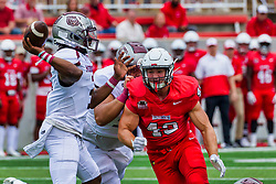 NORMAL, IL - October 02: Jacob Bellizzi forces the hurry up pass from Jason Shelley during a college football game between the Bears of Missouri State and the ISU (Illinois State University) Redbirds on October 02 2021 at Hancock Stadium in Normal, IL. (Photo by Alan Look)