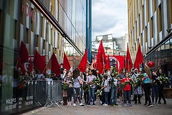 © Licensed to London News Pictures . 16/07/2017 . Manchester , UK . The closing event of the Manchester International Festival at Home arts venue (formally the Cornerhouse) in Manchester City Centre , featuring dance, music, socialist workshops , all in the shadow of the newly unveiled statue of Friedrich Engels , at Tony Wilson Place . Photo credit : Joel Goodman/LNP