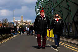 Fans arrive at Sincil Bank ahead of Lincoln City v Cheltenham Town - Mandatory by-line: Robbie Stephenson/JMP - 13/04/2019 - FOOTBALL - Sincil Bank Stadium - Lincoln, England - Lincoln City v Cheltenham Town - Sky Bet League Two