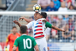May 28, 2018 - Chester, PA, U.S. - CHESTER, PA - MAY 28: United States midfielder Weston McKennie (6) heads the ball during the international friendly match between the United States and Bolivia at the Talen Energy Stadium on May 28, 2018 in Chester, Pennsylvania. (Photo by Robin Alam/Icon Sportswire) (Credit Image: © Robin Alam/Icon SMI via ZUMA Press)