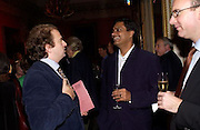 Alexander Waugh and Aniruddha Bahal, Literary Review Bad Sex in Fiction Award. In and Out Club, St. James, Sq. 3 December 2003. © Copyright Photograph by Dafydd Jones 66 Stockwell Park Rd. London SW9 0DA Tel 020 7733 0108 www.dafjones.com