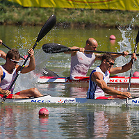 Hybois Arnaud (R) and Jouve Sebastien (L) from France paddle their boat in the K2 men Kayak 200m final of the 2011 ICF World Canoe Sprint Championships held in Szeged, Hungary on August 21, 2011. ATTILA VOLGYI