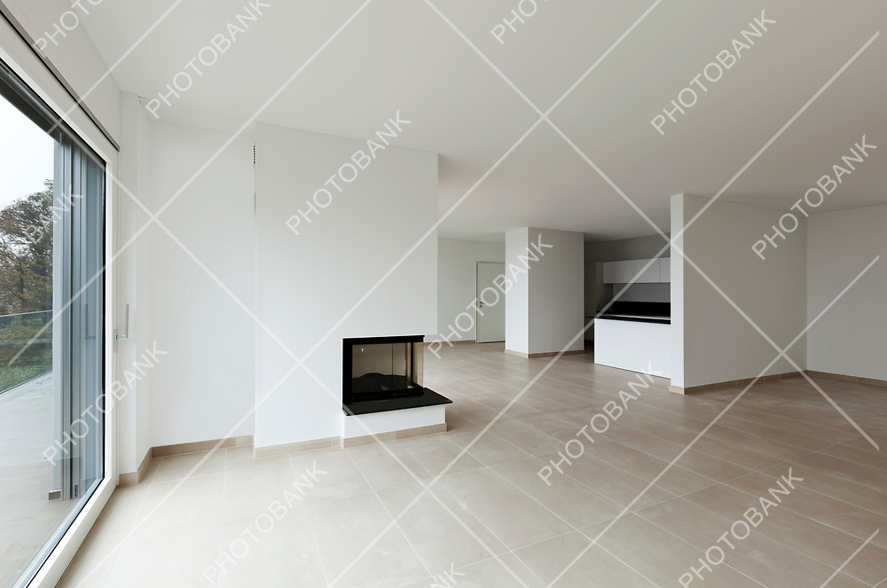new apartment, living room, view fireplace and kitchen