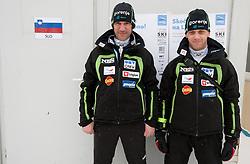 Primoz Peterka and Matjaz Triplat of Slovenia during Normal Hill Individual Competition at FIS World Cup Ski jumping Ladies Ljubno 2012, on February 11, 2012 in Ljubno ob Savinji, Slovenia. (Photo By Vid Ponikvar / Sportida.com)