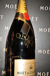 Champagne bottle signed by Eva Herzigova at the Moet & Chandon Tribute to Cinema party held at the Big Sky Studios, Brewery Road, London N7 on 24th March 2009.