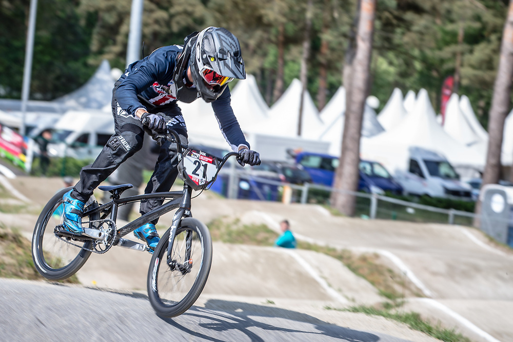 #21 (GAIAN Sean) USA during practice at Round 5 of the 2018 UCI BMX Superscross World Cup in Zolder, Belgium