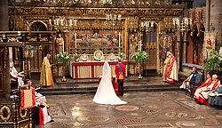 Prince William and and his new bride Kate at Westminster Abbey, London, during their wedding service.
