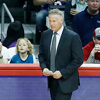 11 March 2017: Philadelphia 76ers head coach Brett Brown is seen during the LA Clippers 112-100 victory over the Philadelphia Sixers, at the Staples Center, Los Angeles, California, USA.
